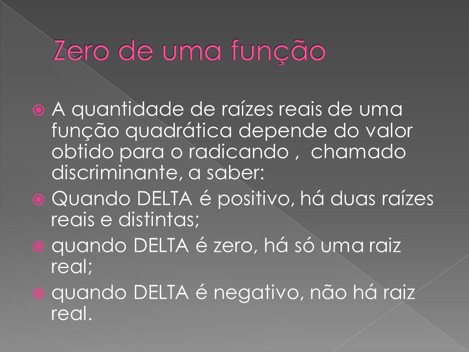 Zero de uma função A quantidade de raízes reais de uma função quadrática depende do valor obtido para o radicando , chamado discriminante, a saber: