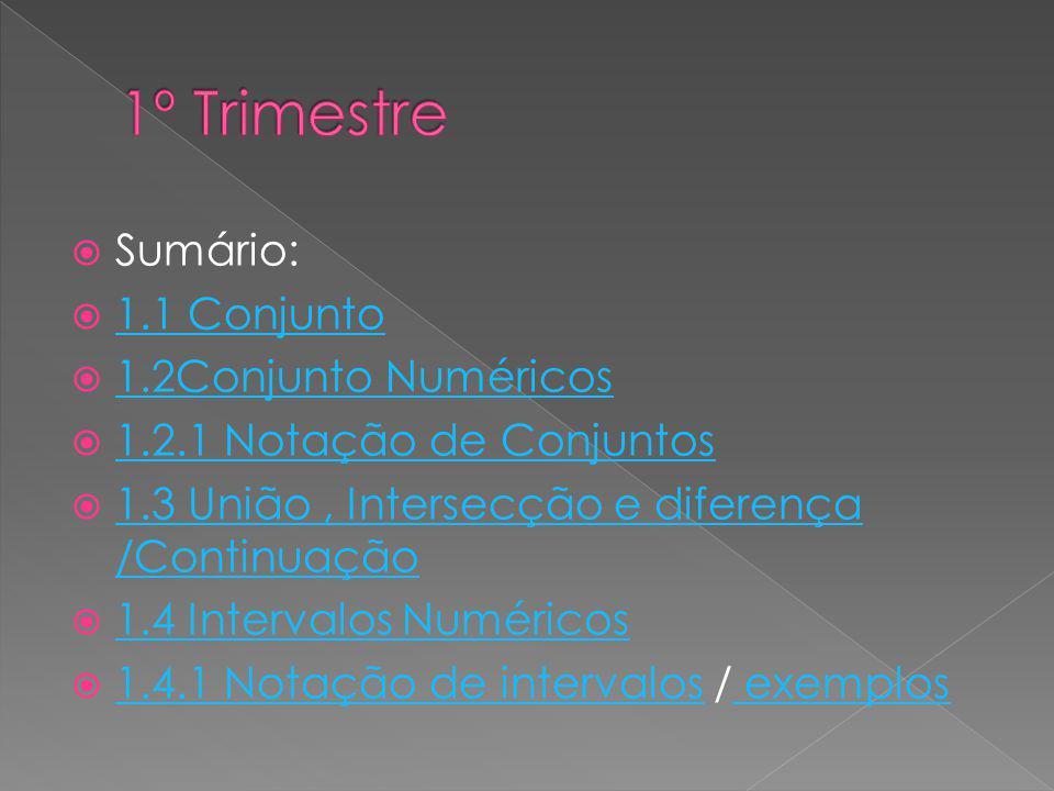 1º Trimestre Sumário: 1.1 Conjunto 1.2Conjunto Numéricos