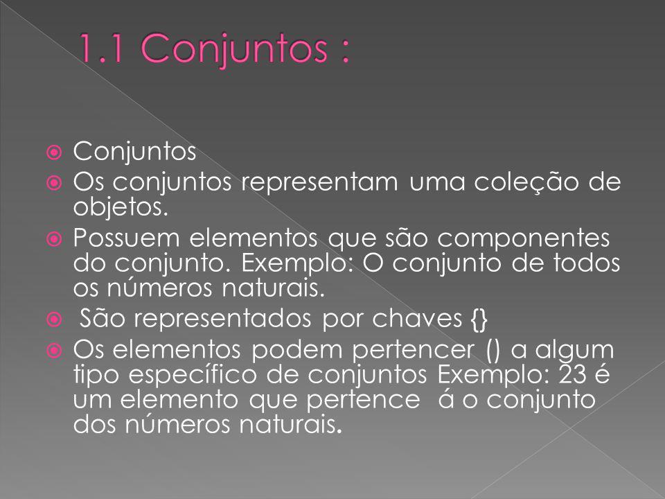1.1 Conjuntos : Conjuntos. Os conjuntos representam uma coleção de objetos.