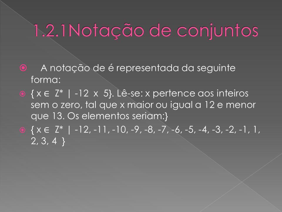 1.2.1Notação de conjuntos A notação de é representada da seguinte forma: