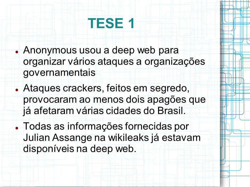 TESE 1 Anonymous usou a deep web para organizar vários ataques a organizações governamentais.