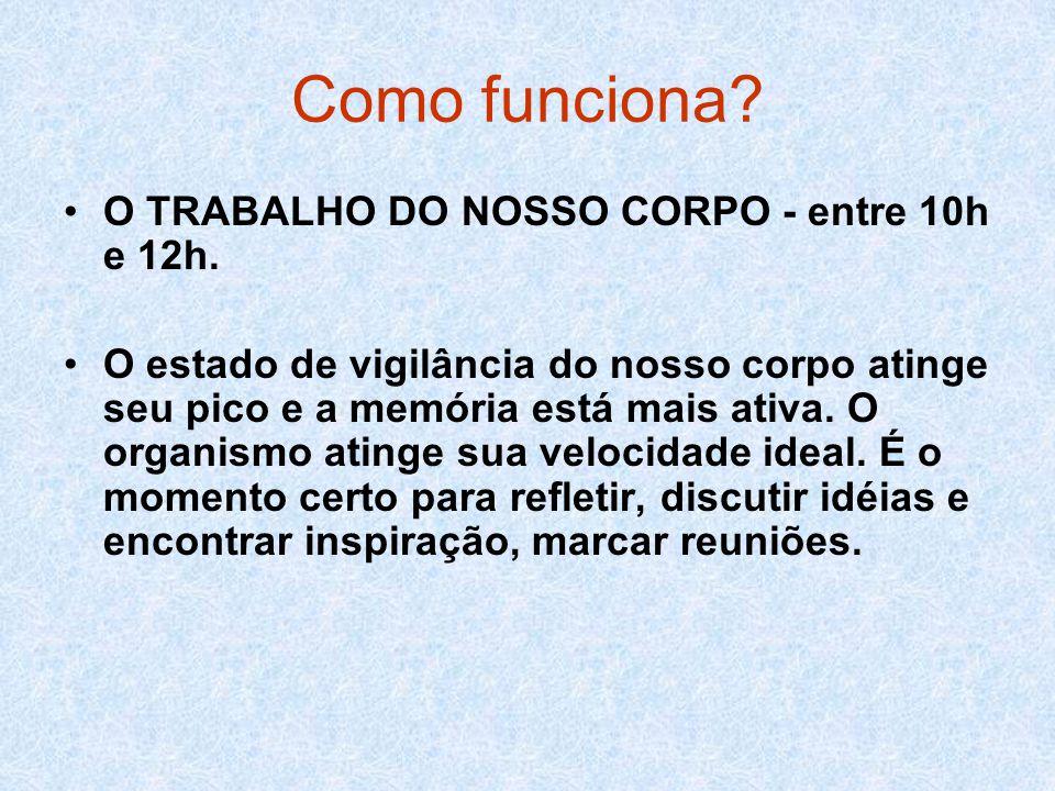 Como funciona O TRABALHO DO NOSSO CORPO - entre 10h e 12h.