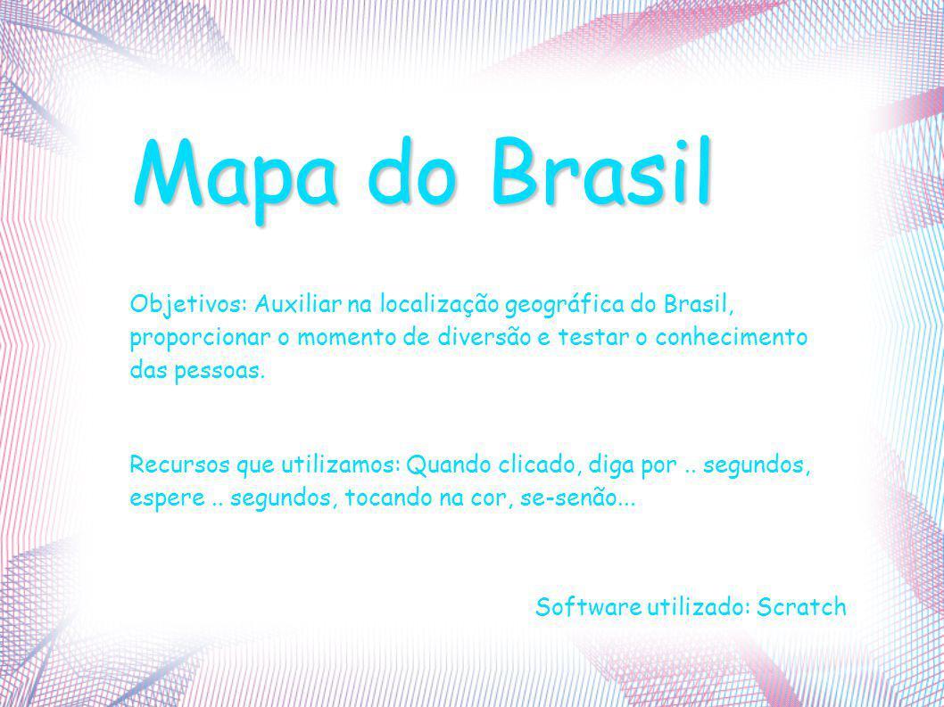 Mapa do Brasil Objetivos: Auxiliar na localização geográfica do Brasil, proporcionar o momento de diversão e testar o conhecimento das pessoas.