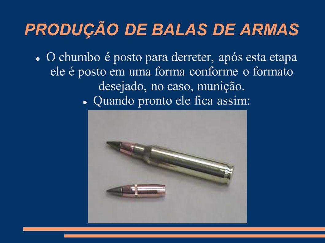 PRODUÇÃO DE BALAS DE ARMAS