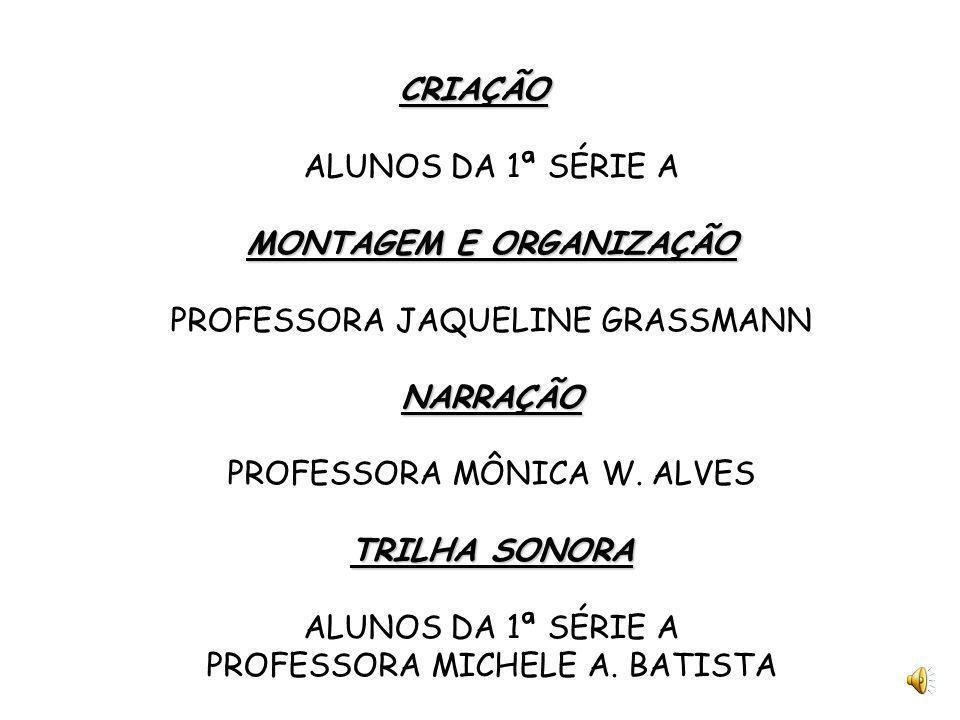 CRIAÇÃO ALUNOS DA 1ª SÉRIE A MONTAGEM E ORGANIZAÇÃO PROFESSORA JAQUELINE GRASSMANN NARRAÇÃO PROFESSORA MÔNICA W.