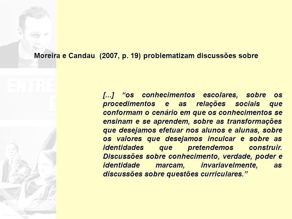 Moreira e Candau (2007, p. 19) problematizam discussões sobre