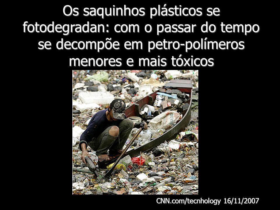 Os saquinhos plásticos se fotodegradan: com o passar do tempo se decompõe em petro-polímeros menores e mais tóxicos