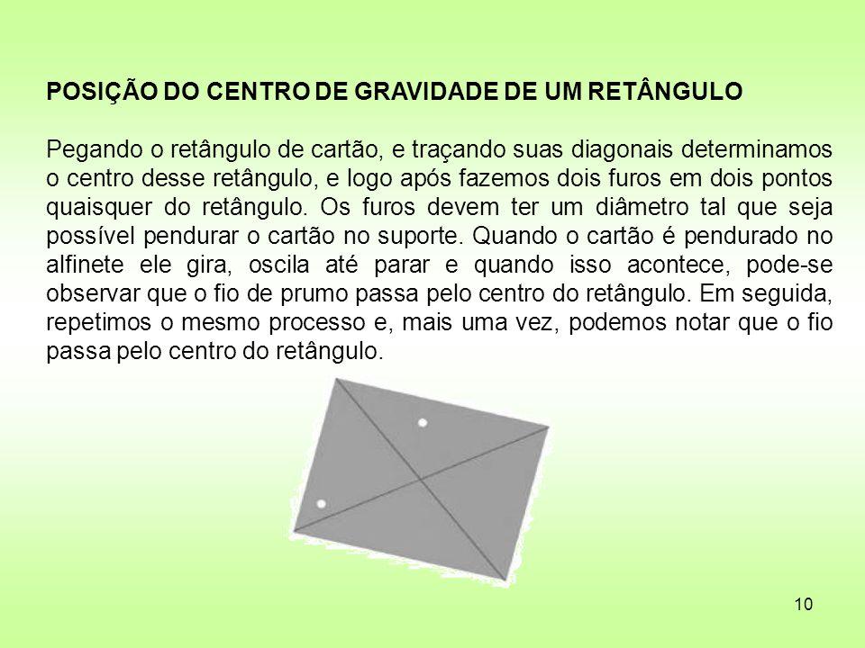POSIÇÃO DO CENTRO DE GRAVIDADE DE UM RETÂNGULO