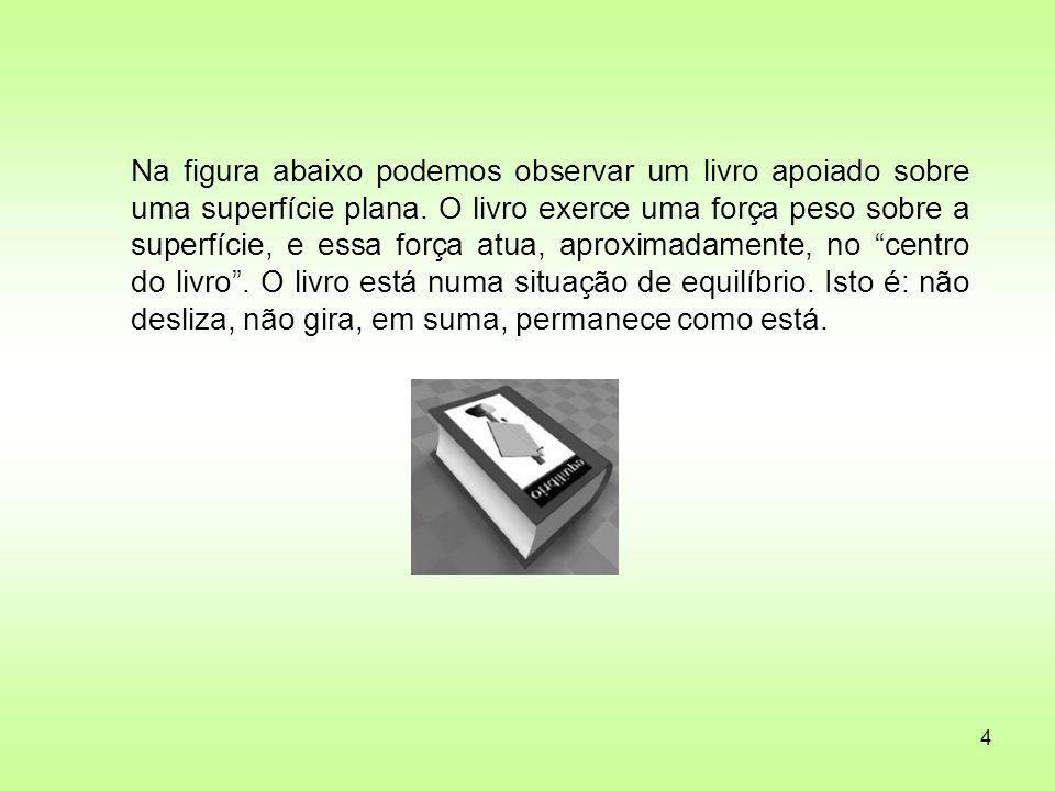 Na figura abaixo podemos observar um livro apoiado sobre uma superfície plana.