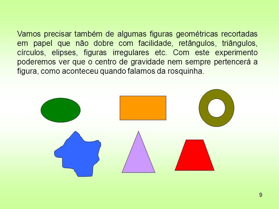 Vamos precisar também de algumas figuras geométricas recortadas em papel que não dobre com facilidade, retângulos, triângulos, círculos, elipses, figuras irregulares etc.
