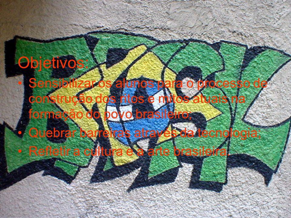 Objetivos: Sensibilizar os alunos para o processo de construção dos ritos e mitos atuais na formação do povo brasileiro;