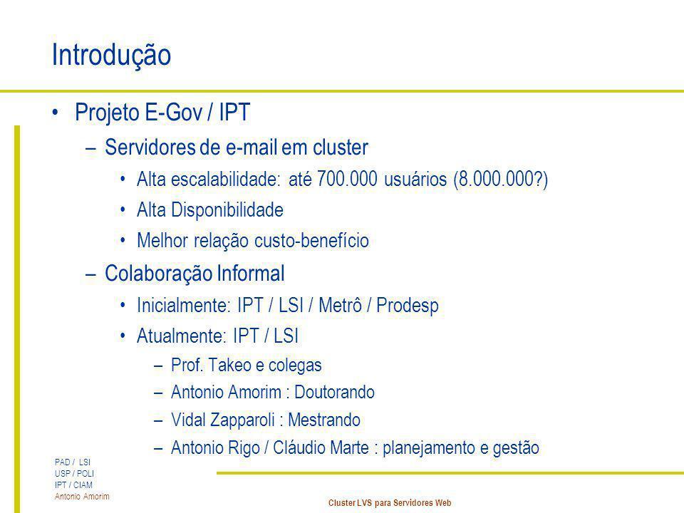 Introdução Projeto E-Gov / IPT Servidores de e-mail em cluster