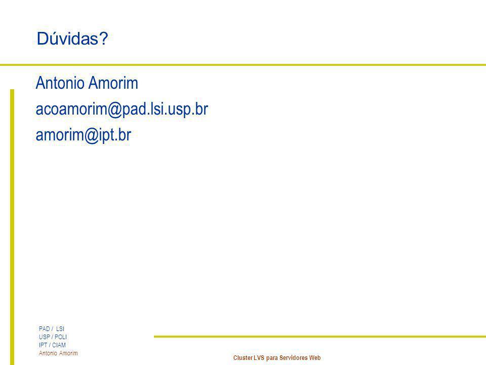 Dúvidas Antonio Amorim acoamorim@pad.lsi.usp.br amorim@ipt.br