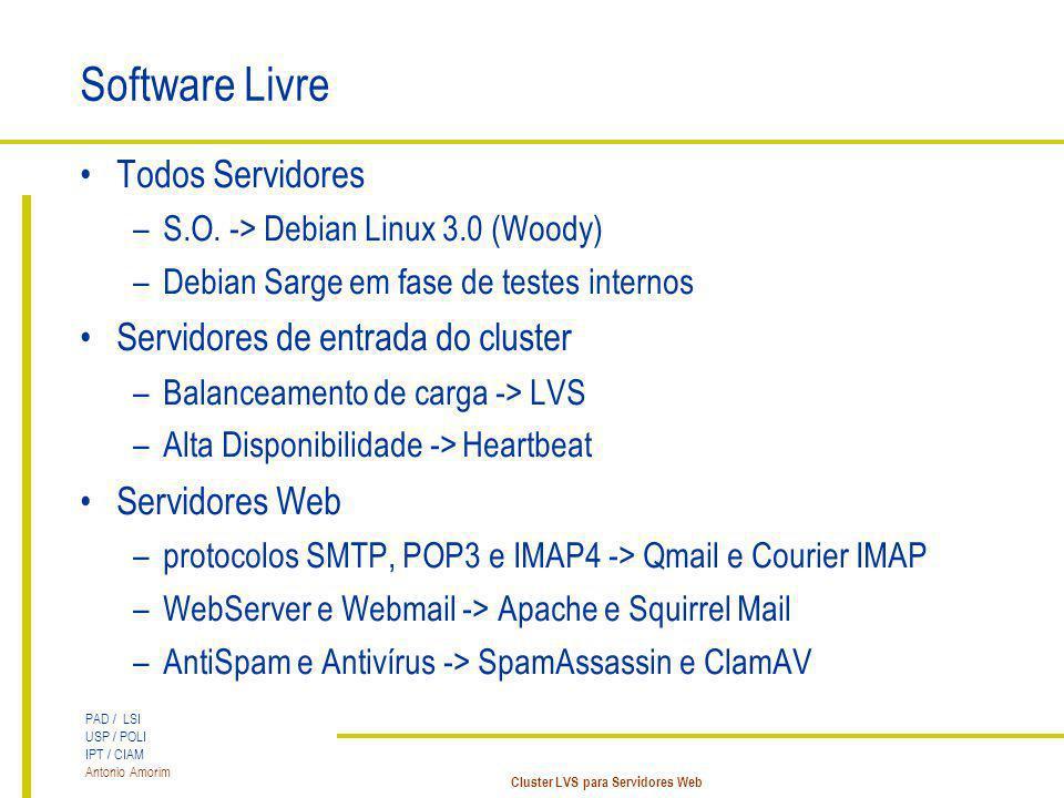 Software Livre Todos Servidores Servidores de entrada do cluster