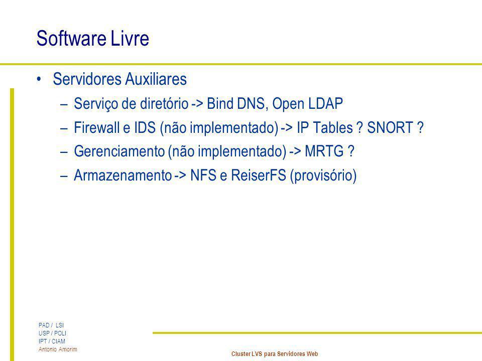 Software Livre Servidores Auxiliares