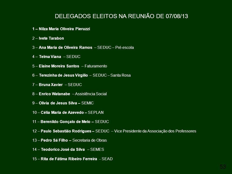 DELEGADOS ELEITOS NA REUNIÃO DE 07/08/13