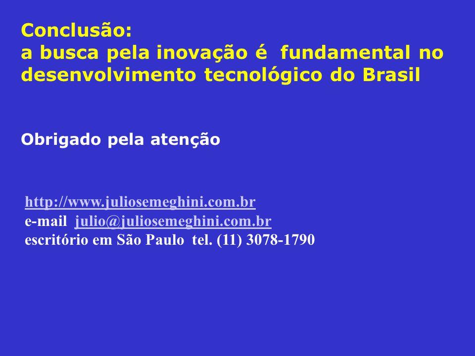 Conclusão: a busca pela inovação é fundamental no desenvolvimento tecnológico do Brasil Obrigado pela atenção