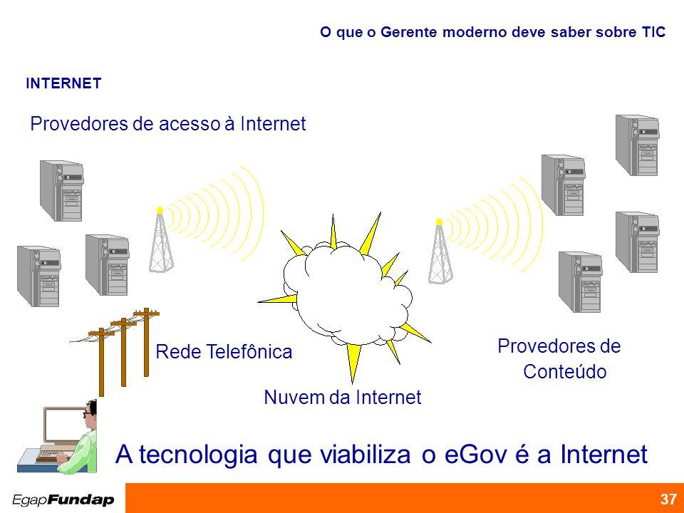 A tecnologia que viabiliza o eGov é a Internet
