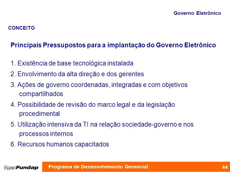 Principais Pressupostos para a implantação do Governo Eletrônico
