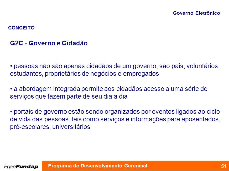 Governo Eletrônico CONCEITO. G2C - Governo e Cidadão.