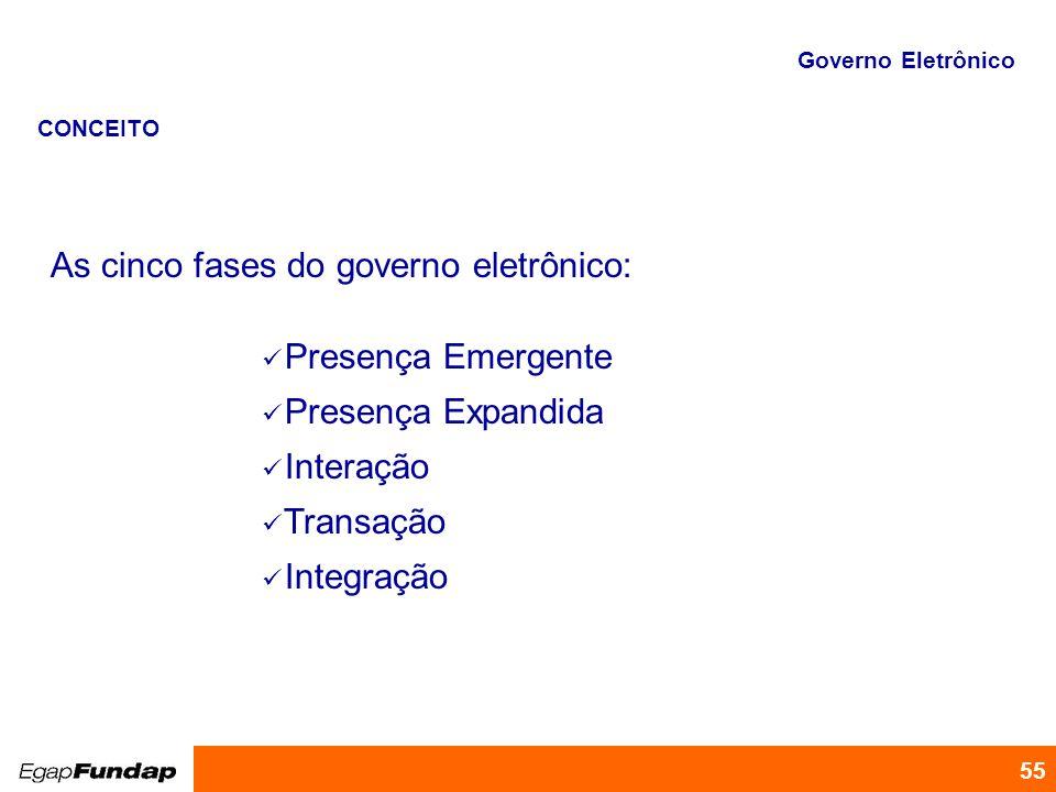 As cinco fases do governo eletrônico: Presença Emergente