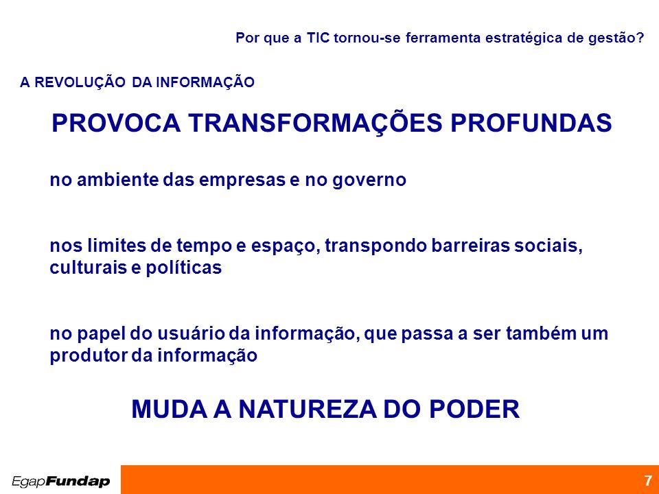 PROVOCA TRANSFORMAÇÕES PROFUNDAS MUDA A NATUREZA DO PODER