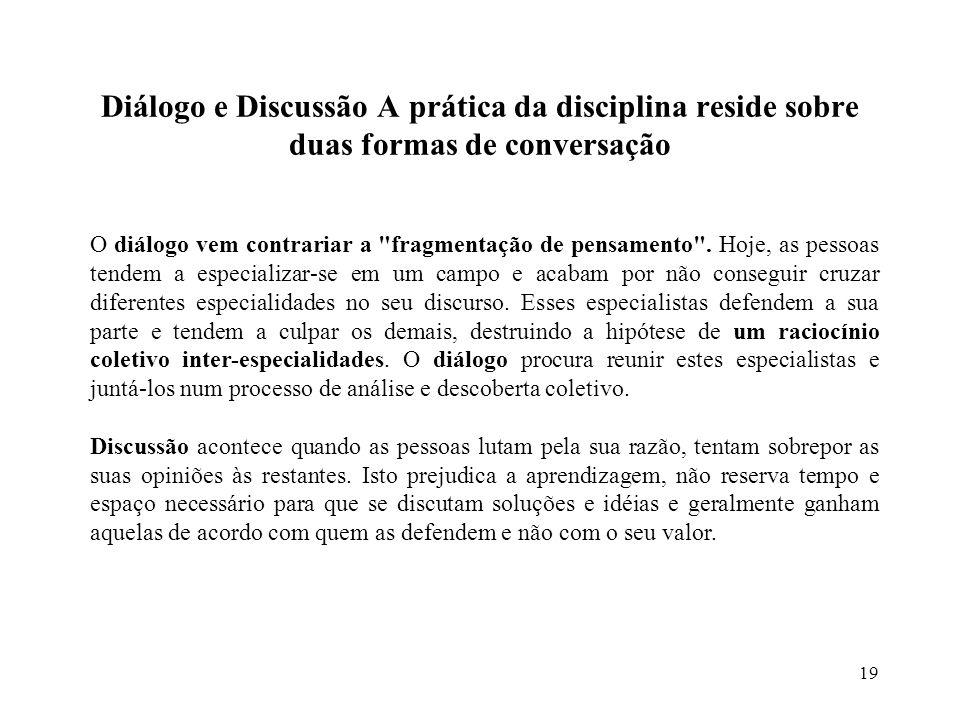 Diálogo e Discussão A prática da disciplina reside sobre duas formas de conversação