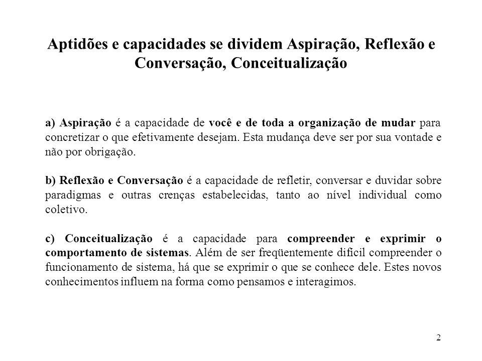 Aptidões e capacidades se dividem Aspiração, Reflexão e Conversação, Conceitualização