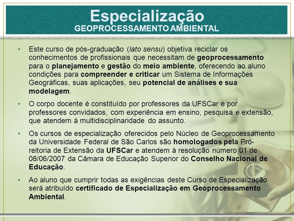 Especialização GEOPROCESSAMENTO AMBIENTAL
