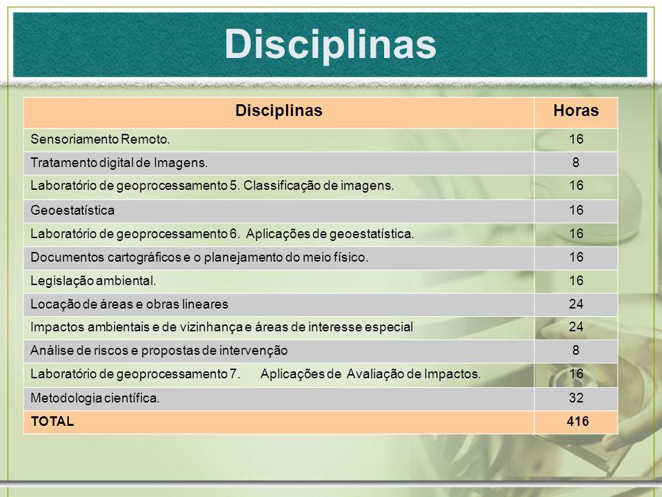 Disciplinas Disciplinas Horas Sensoriamento Remoto. 16