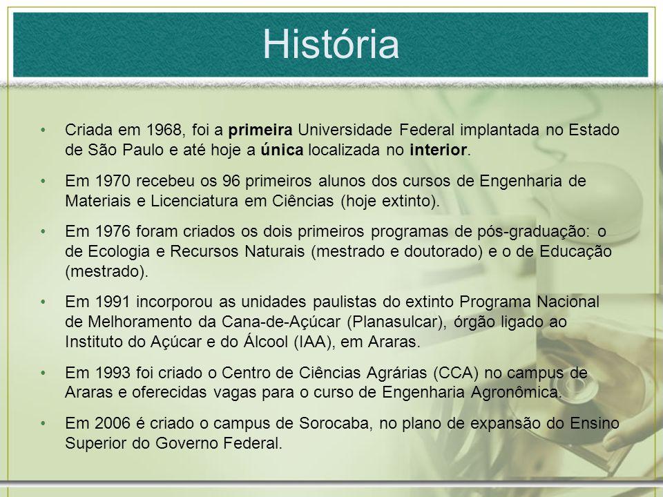 História Criada em 1968, foi a primeira Universidade Federal implantada no Estado de São Paulo e até hoje a única localizada no interior.