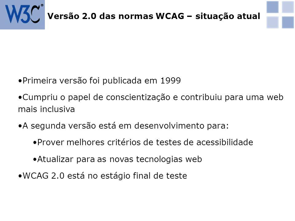Versão 2.0 das normas WCAG – situação atual
