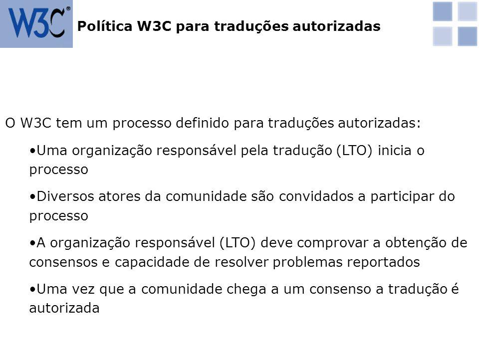 Política W3C para traduções autorizadas