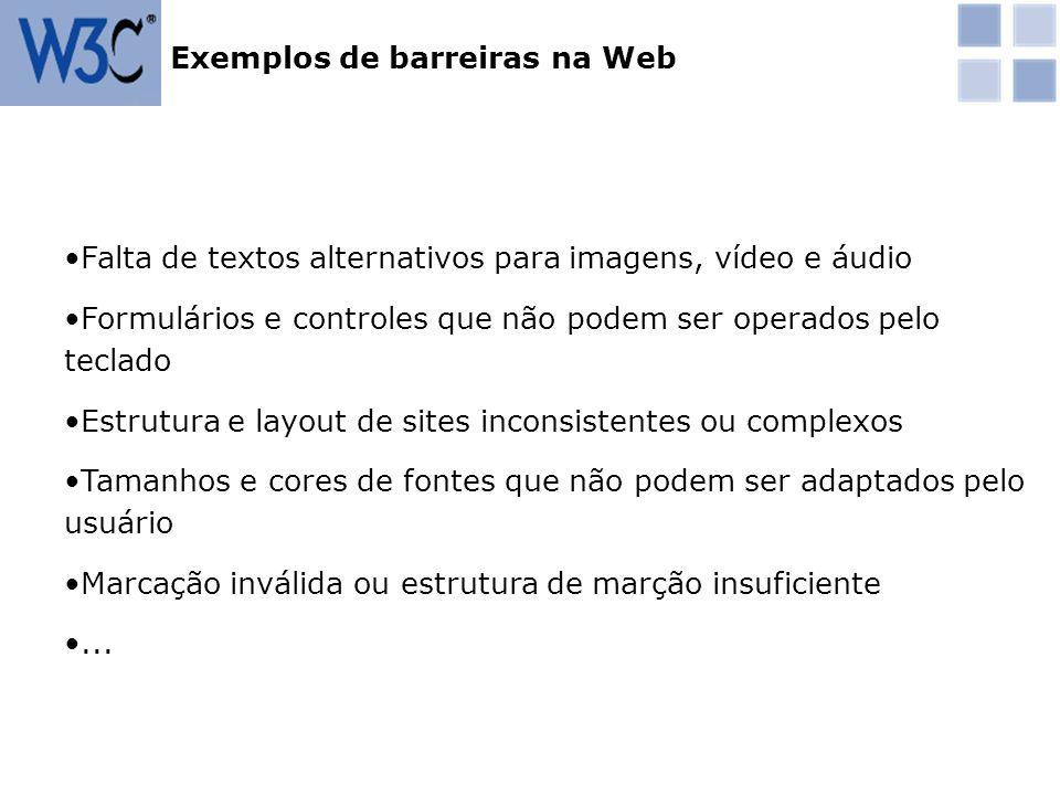 Exemplos de barreiras na Web