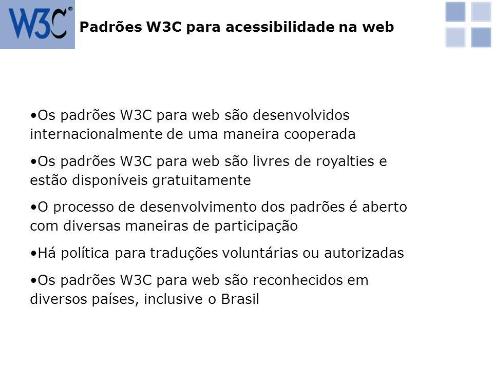 Padrões W3C para acessibilidade na web