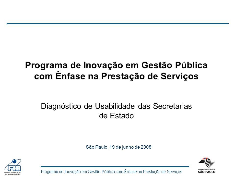 Diagnóstico de Usabilidade das Secretarias de Estado