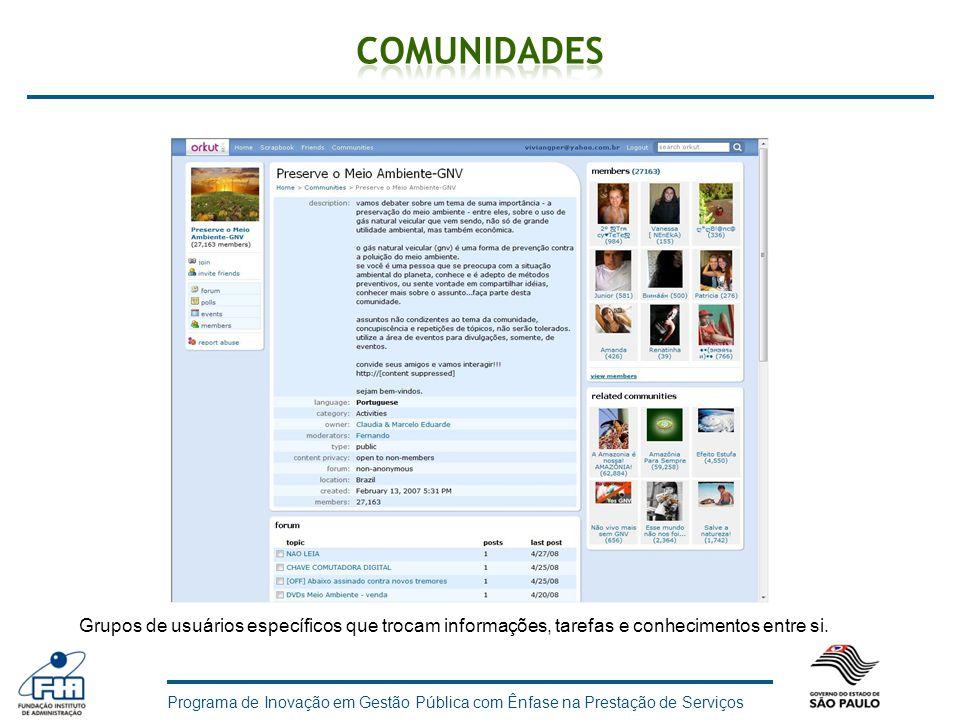 Comunidades Grupos de usuários específicos que trocam informações, tarefas e conhecimentos entre si.