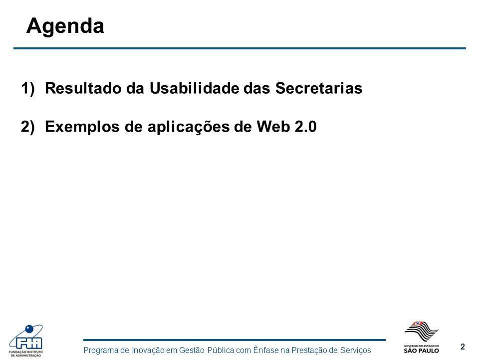 Agenda Resultado da Usabilidade das Secretarias