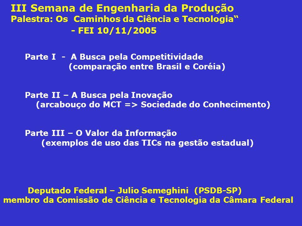 III Semana de Engenharia da Produção Palestra: Os Caminhos da Ciência e Tecnologia - FEI 10/11/2005