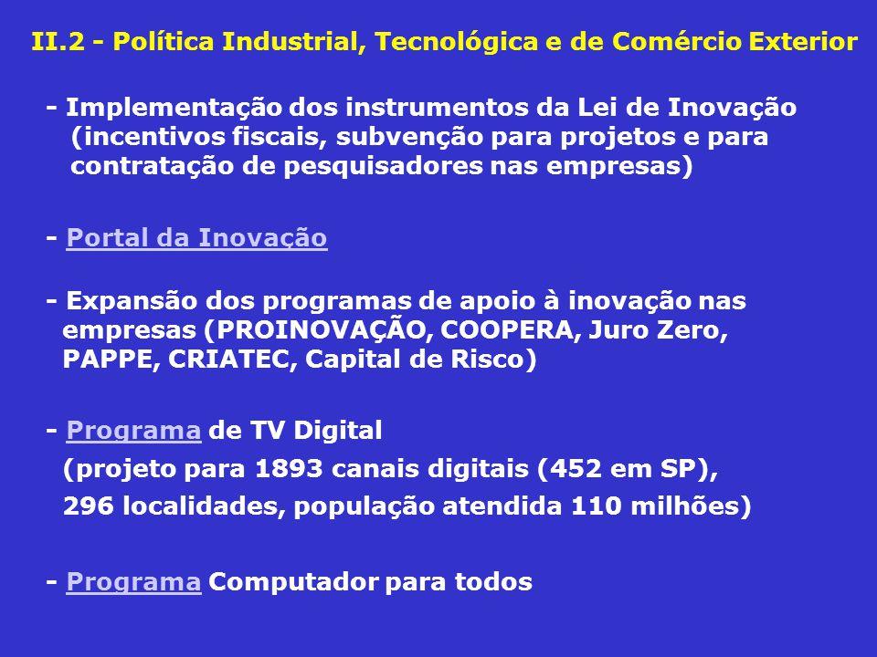 II.2 - Política Industrial, Tecnológica e de Comércio Exterior