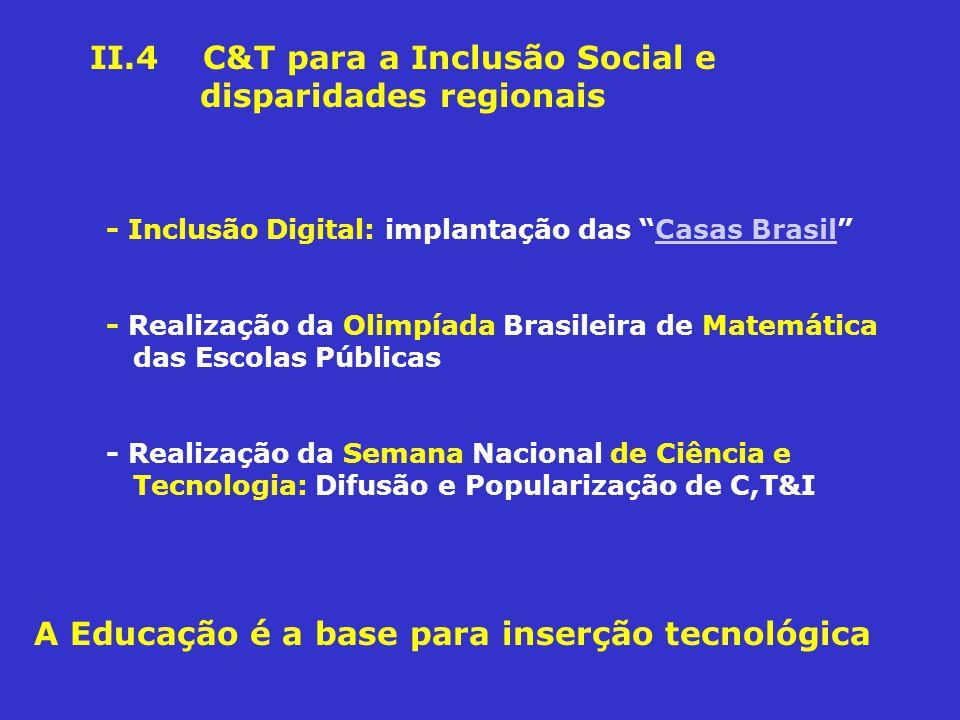 II.4 C&T para a Inclusão Social e disparidades regionais