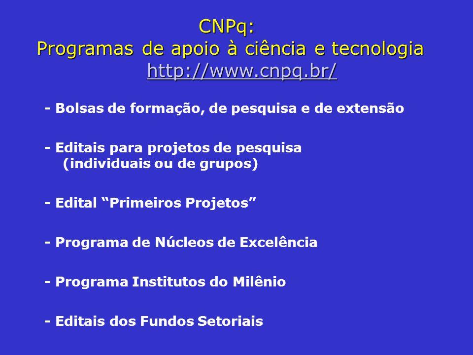 CNPq: Programas de apoio à ciência e tecnologia http://www.cnpq.br/