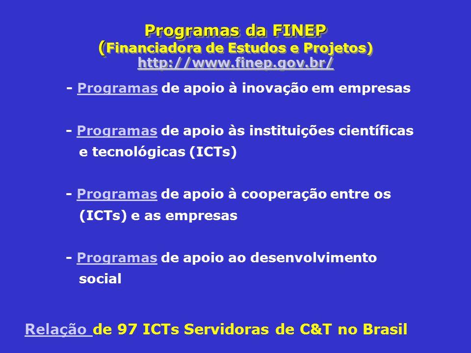 Programas da FINEP (Financiadora de Estudos e Projetos) http://www