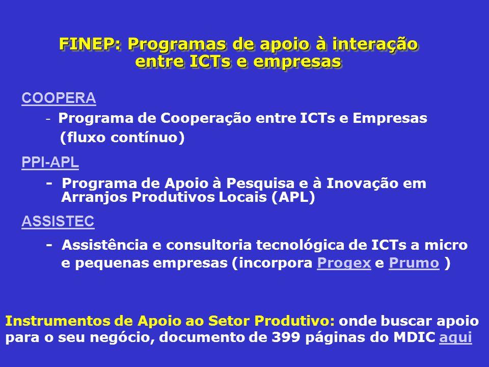 FINEP: Programas de apoio à interação entre ICTs e empresas