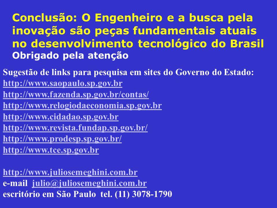 Conclusão: O Engenheiro e a busca pela inovação são peças fundamentais atuais no desenvolvimento tecnológico do Brasil Obrigado pela atenção