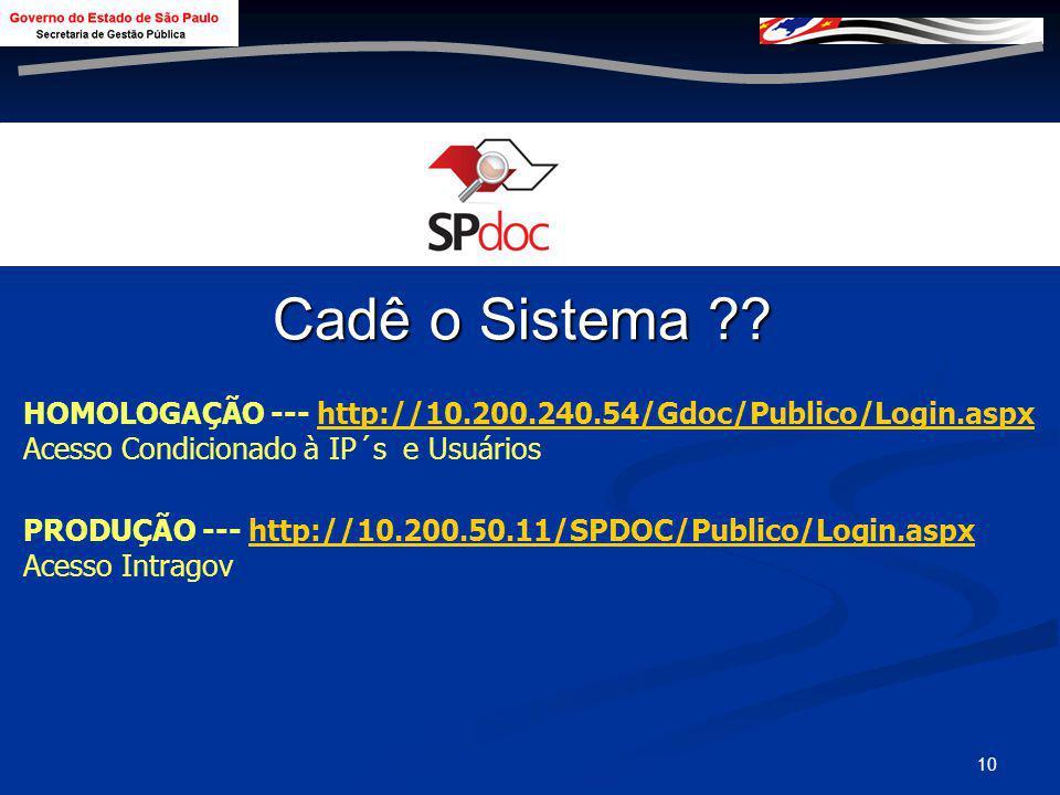 Cadê o Sistema HOMOLOGAÇÃO --- http://10.200.240.54/Gdoc/Publico/Login.aspx. Acesso Condicionado à IP´s e Usuários.
