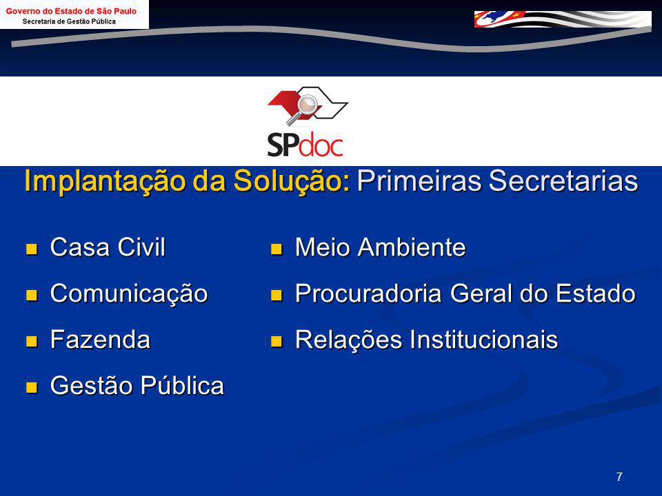 Implantação da Solução: Primeiras Secretarias