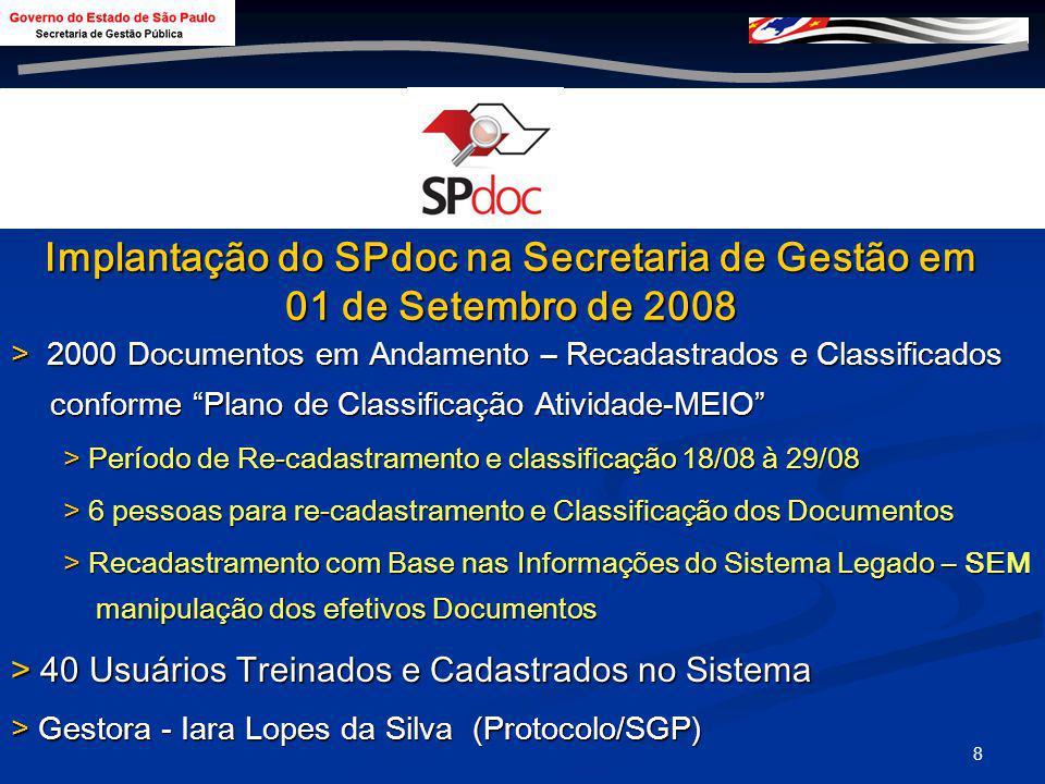 Implantação do SPdoc na Secretaria de Gestão em 01 de Setembro de 2008