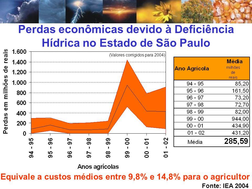 Perdas econômicas devido à Deficiência Hídrica no Estado de São Paulo