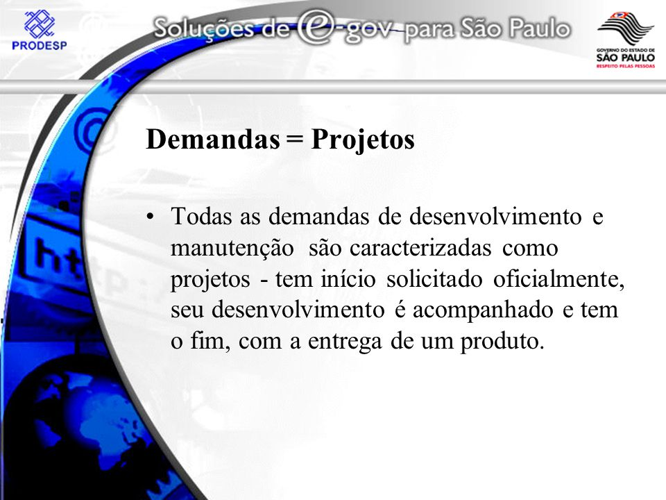 Demandas = Projetos